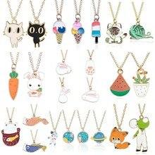 Cartoon Plant Animal Necklaces Pendants Enamel Mermaid Fox Cat Rabbit Planet Heart Necklace Women Girls Kids Jewelry Xmas Gifts