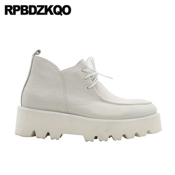 High Wedge Boots | Thick Soled Full Grain Leather Round Toe Wedge Ankle Runway Autumn Fall White Platform Boots Lace Up High Sole Shoes Men Booties