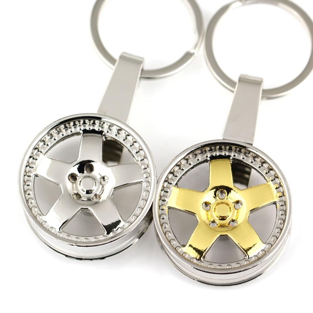 Color wheel online - Wheel Rim Keychain Creative Auto Parts Model Spinning Silver Color Metallic Key Chain Ring Keyring Keyfob