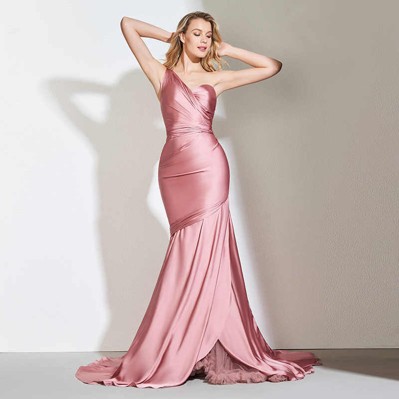 5423e3ae7d7ab Tanpell one shoulder evening dress pink sleeveless floor length court train  gown women custom formal mermaid evening dresses