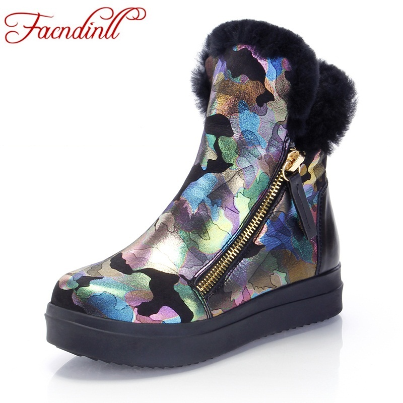 FACNDINLLshearling keep warm fur women snow ankle boots for woman winter platform flat print wool cotton boot casual shoes woman