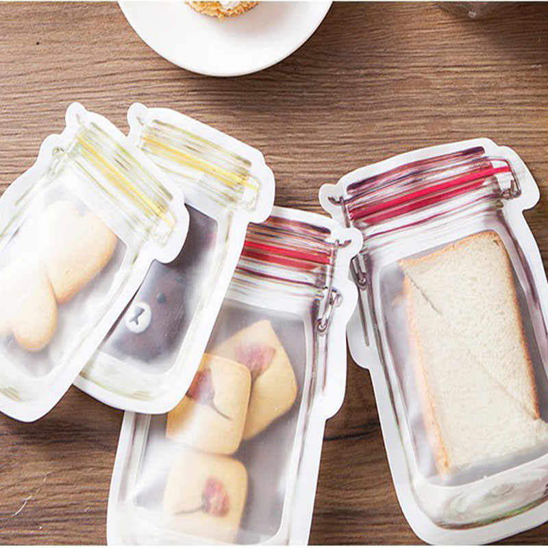 1Pcs Bottle shape Clear Storage Bag Plastic Resealable Baggy Grip Self Seal Reclosable Zip Lock Bag For Kitchen Sundries Storage