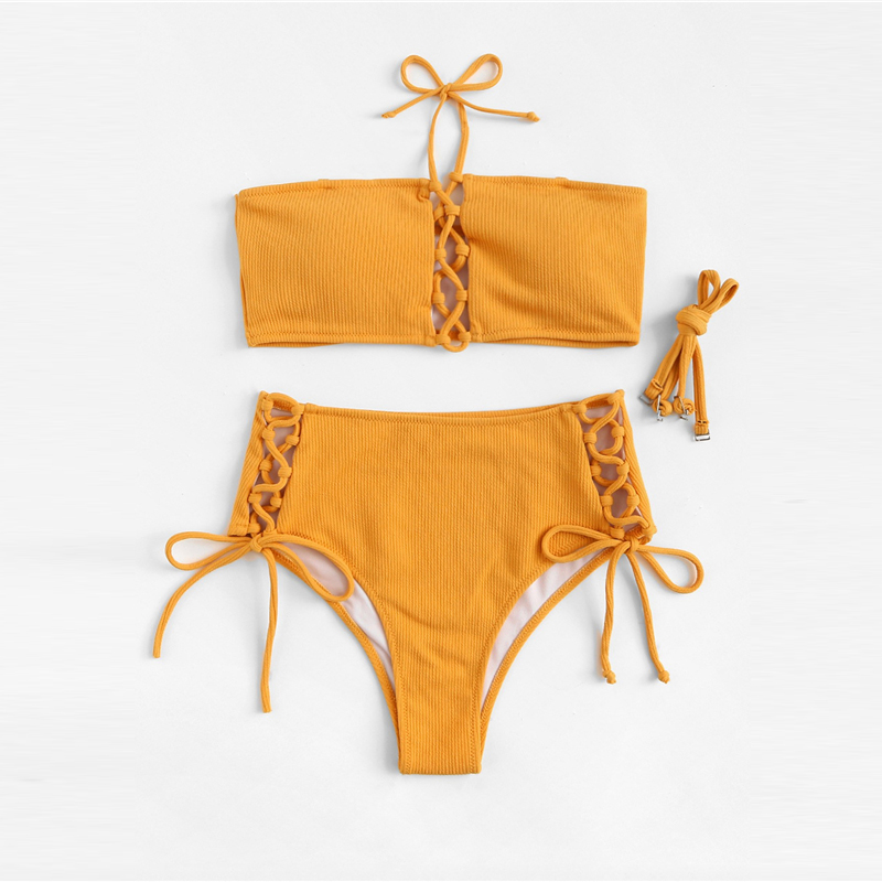 Top With Lace-up Bottoms Bikini Set 11