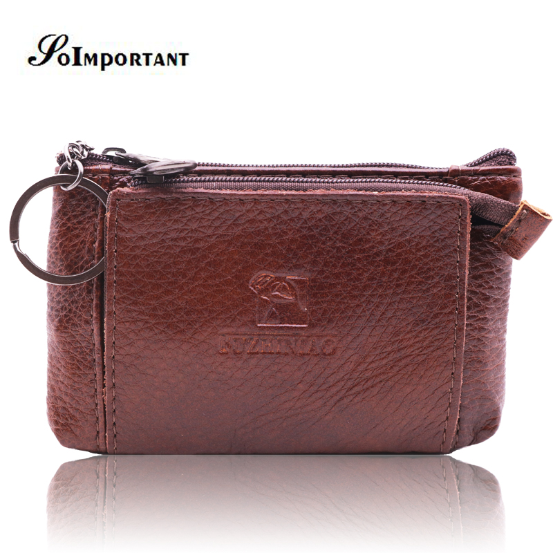 Fashion Coin Purses Mini Pouch Genuine Leather Women Men Wallets Female Card Holder Magic Walet Male Change Money Bags Key Ring