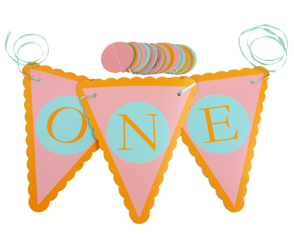 1set First Birthday High Chair Banner with Circle Garland 1st Bithday Party Decor Baby Shower Princess Party Supplies
