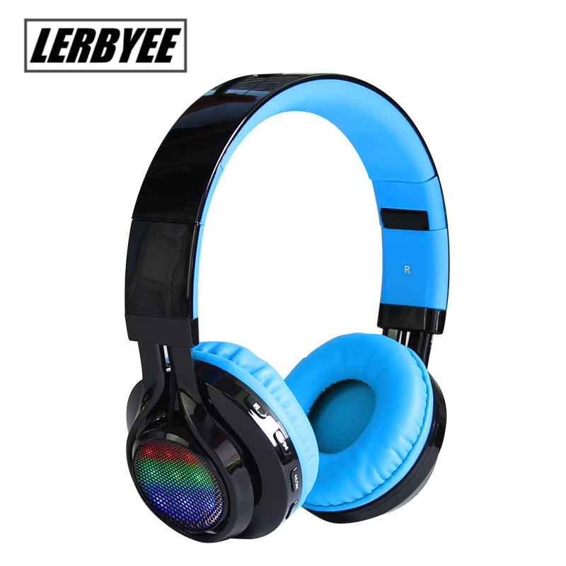 Lerbyee wireless stereo Foldable Bluetooth headset with a microphone TF card FM LED headphones give children the best gift foldable on ear wireless stereo bluetooth headphones headset supports fm