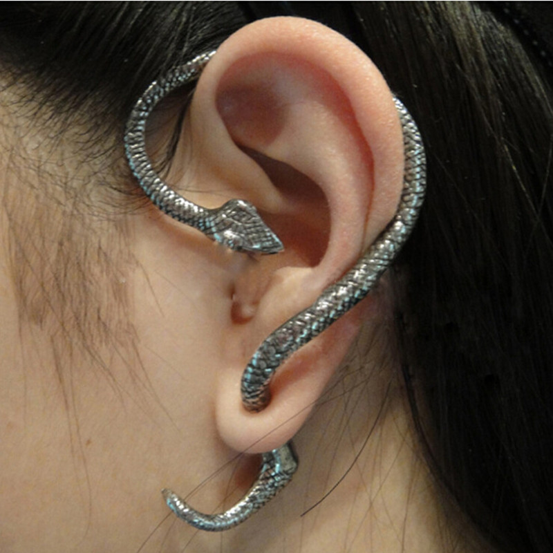 New Fashion Punk Style Twining Snake Shape Earrings Stud Cuff Earrings For Women Style Jewelry