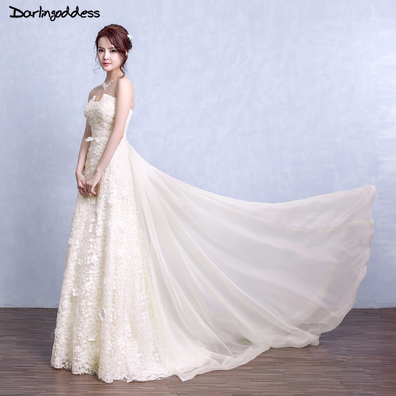Simple Beach Wedding Dresses A Line 3D Flowers Champagne