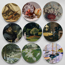 Monet Painting Wall Hangings Plates Ceramic Craft Home Decorative Dish Hotel Living Room Background Display Oil Painting Plates