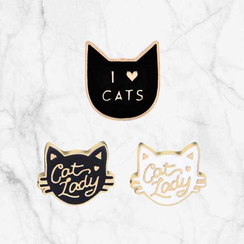 Enamel Kucing Lucu Kepala Bros untuk Wanita Hewan Bros Pin Fashion Wanita Kucing Warna Hadiah untuk Anak-anak Kartun Yang Indah Bros