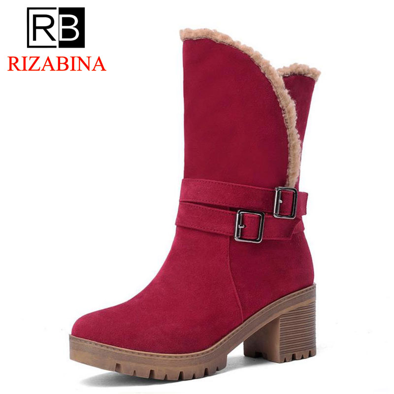 RizaBina Size 34-43 Women Mid Calf High Heel Boots Warm Fur Short Thick Heels Boots Cold Winter Shoes Snow Botas Woman Footwears coolcept size 34 43 fashion rusia women winter snow botas flats boots cross strap short boots with fur shoes for women footwears