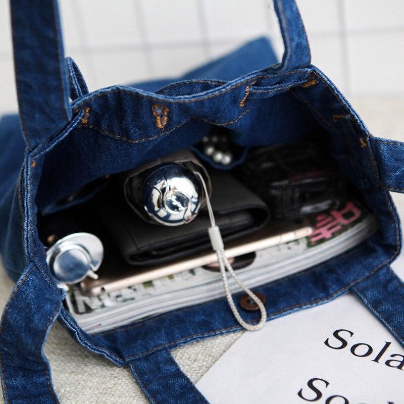 Décontracté moraillon Design noir bleu seau Denim Vintage femmes fourre tout sacs à bandoulière dame sacs à main Jeans Denim sacs à bandoulière-in Sacs à bandoulière from Baggages et sacs    3