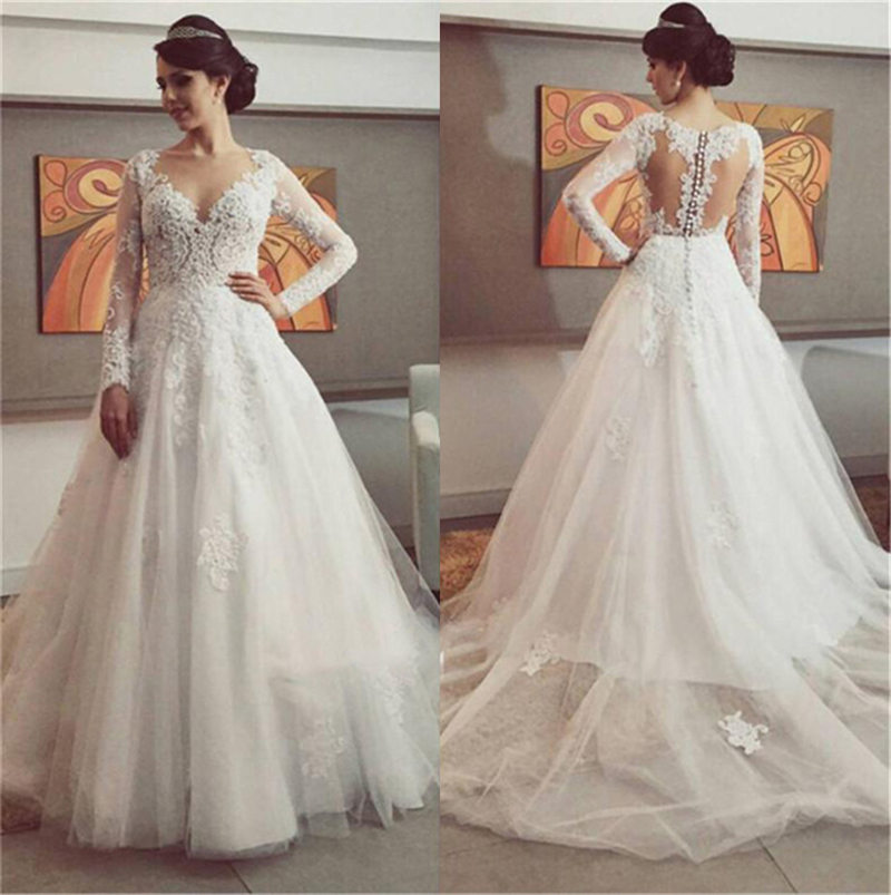 Buy latest fashion deep v neck long for See through corset top wedding dress