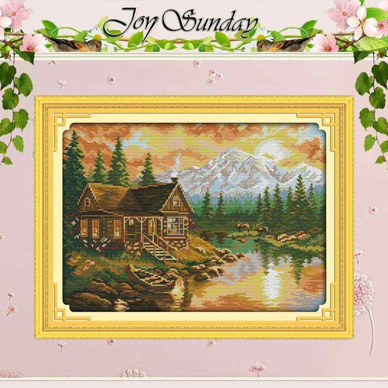 Sunset Pattern DIY Embroidery Package Stamped Cross Stitch Kits 11 Count