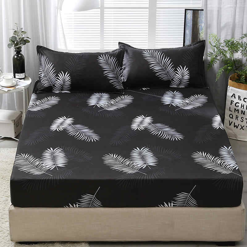 Fitted Sheet with 2 pcs Pillowcase Set Black Leaf Printed Single Queen Size Mattress Protector Cover Bottom Sheet for King Bed