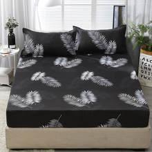 Lençol com 2 pcs Fronha Conjunto Preto Folha Impressa Queen Size Capa Protetor de Colchão Folha de Fundo para o Rei cama