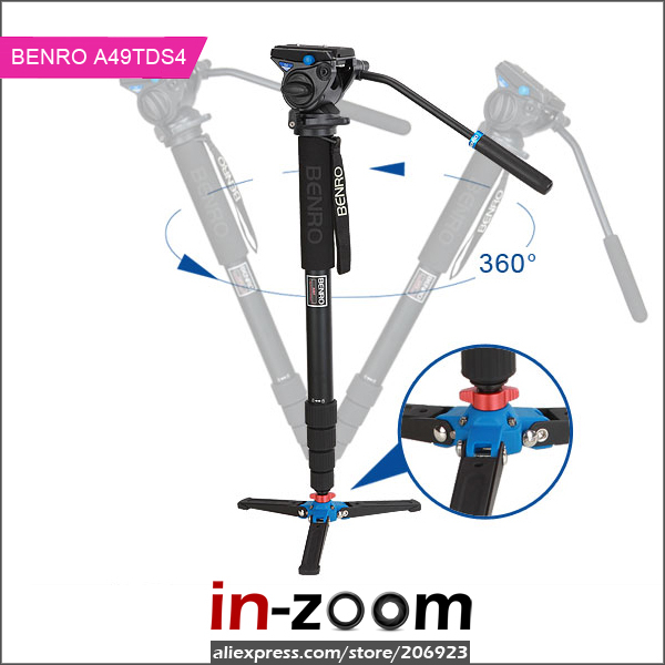 New Benro A49TDS4 Aluminium Monopod with Video Fluid Head *A49TBS4 Updated version Fast Shipping benro s4 video head