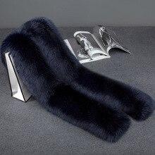 Solid Color Fox Fur Scarf Winter Women New fashion Fox Fur Scarf Collar Shawl Wraps Stitching 2018 Scarf Free Shipping