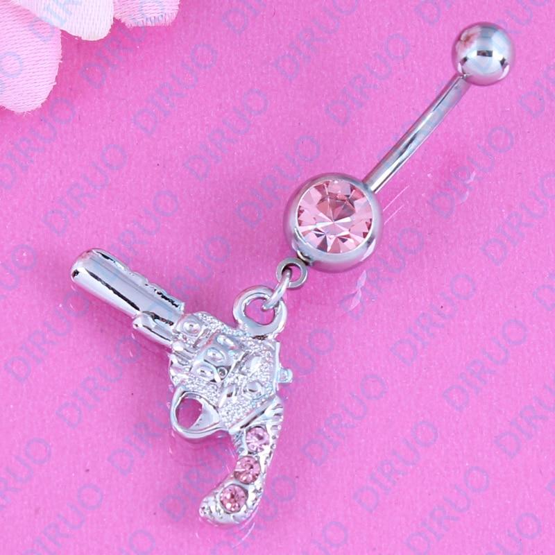 Body Jewellery Koosh Ball Blue-Pink Belly Bar Banana Navel Piercing