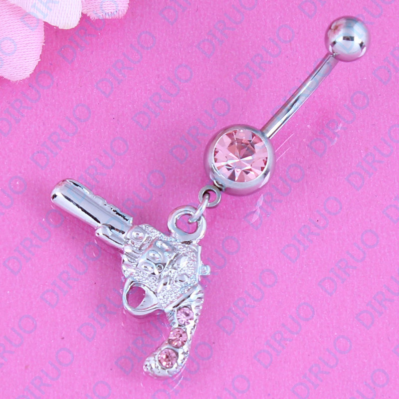 The most fashionable retail gun dangle belly ring navel bar body piercing jewelry 316L surgical steel nickel-free