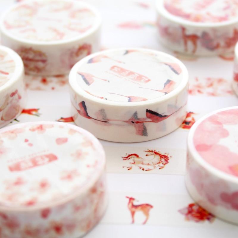 15mmx7m Pink Fall Unicorn Paper Cute Washi Tape Japanese Stationery Decorative Masking Tape Stickers Scrapbooking