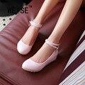 Primavera Otoño Dulce Dulces Colores Cuñas Con Cordones de Zapatos de Correa de Tobillo Zapatos de Las Mujeres Hebilla Redonda de Cuero de la Bomba Zapatos de Boda de gran Tamaño