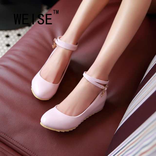 Spring Autumn Sweet Candy Colors Wedges Lace-Up Ankle Strap Women Shoes Round Buckle Pump Leather Shoes Wedding Shoes Large Size