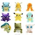 """Lote 6 """"Figura Mew Pikachu Squirtle Charmander Bulbasaur Caráter Suave Stuffed Plush Animais Brinquedos Boneca Para O Presente"""