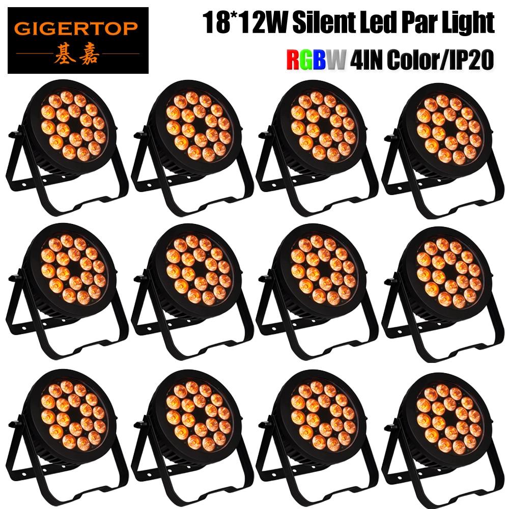 Discount Price 12 Unit Par64 LED 18x12W RGBW 4IN1 Color Indoor Aluminum Par Light Not Waterproof DMX512 Stage Disco Light