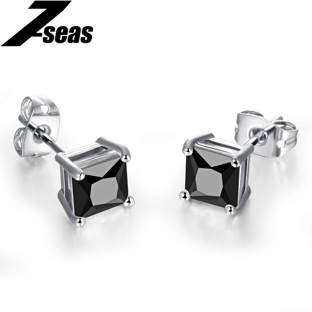 Fashion Cubic Zirconia Stud Earrings For Women and Men Luxury Brand White Gold Color 7mm 8mm Square Shape Wedding Jewelry,JM015B