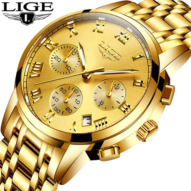 LIGE Mens Watches Top Brand Luxury Fashion Quartz Gold Watch Men's Business Stainless Steel Waterproof Clock Relogio Masculino