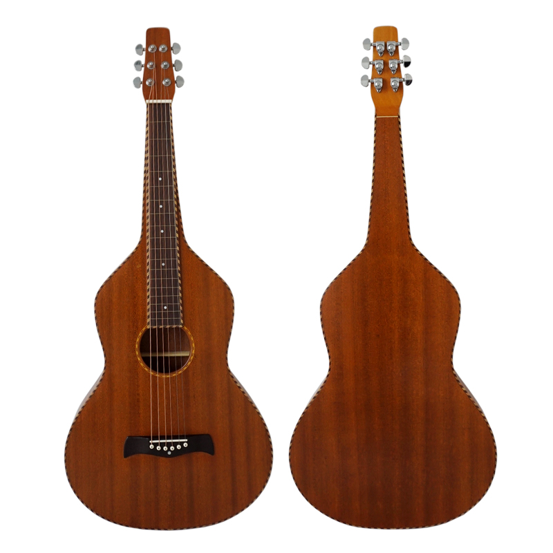 Solid Mahogany body Acoustic rope binding hawaiian Weissenborn slide guitar with free case HG-001TB