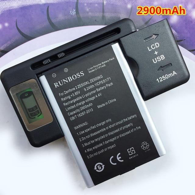 2pcs 2900mah Mobile Phone Battery Fit For Asus Zenfone 2 Laser 5 Ze500kl Z00ed C11p1428 Batteries 1pcs Lcd Wall Charger