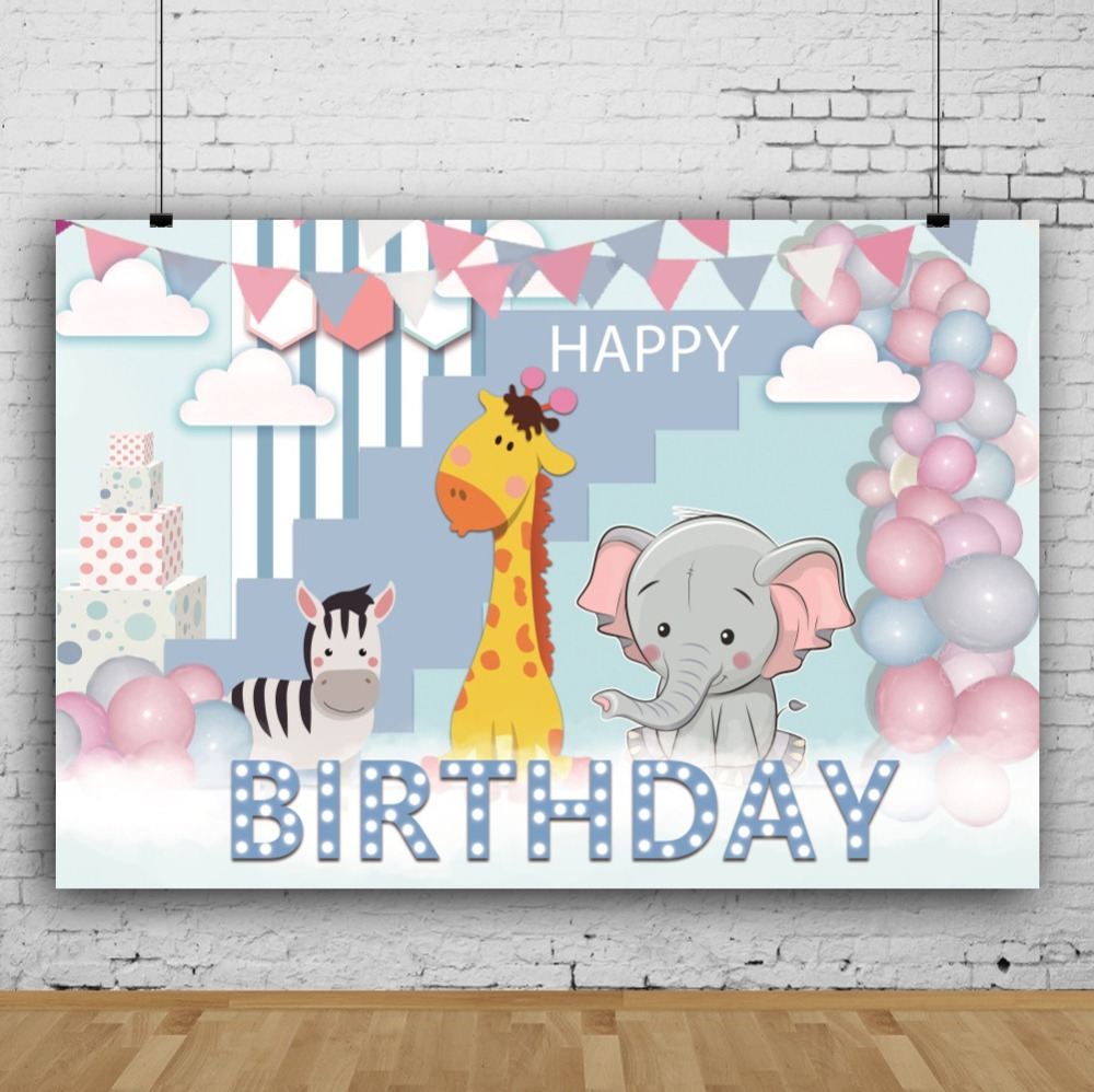 Laeacco Happy Birthday Balloons Flags Animals Baby Children Cartoon Scene Photo Background Photography Backdrop For Photo Studio in Background from Consumer Electronics