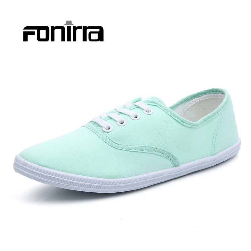 FONIRRA Women Canvas Shoes 2017 6 Colors Women Lace Up Casual Shoes for Woman Canvas Flats Zapatos Mujer 148