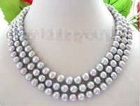 >>>>3rows Natural 9mm Round Gray Pearl Necklace Cameo!