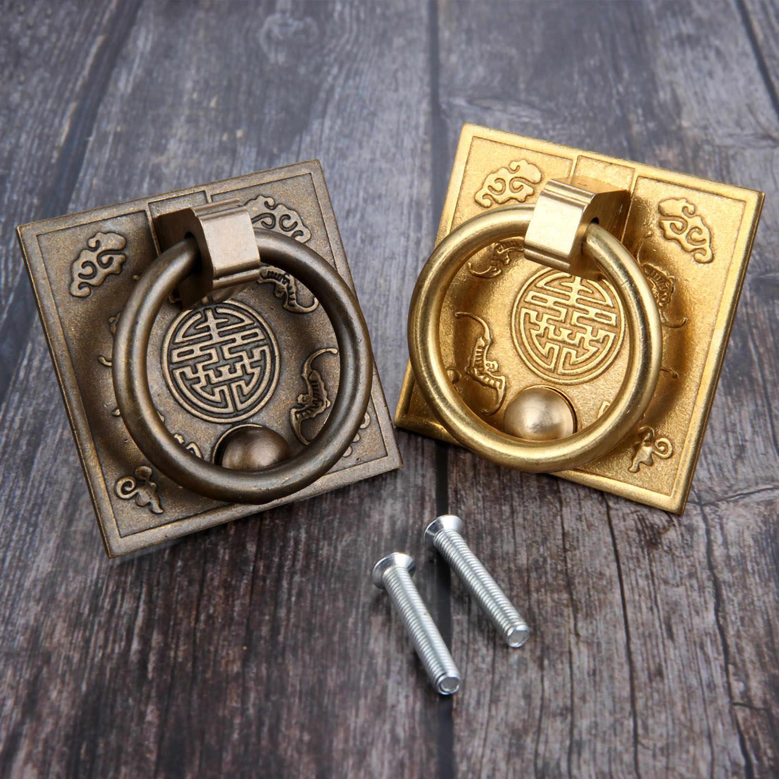 60*60 มม.ทองเหลืองโบราณโบราณตู้จับประตูจีนสไตล์ Drop จับตู้ลิ้นชักจับ