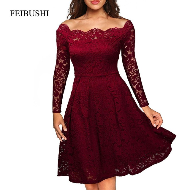 FEIBUSHI Robe Femme Embroidery Vintage Lace Dress Women Off Shoulder Dress  Long Sleeve Casual Evening Party A Line Lace Dresses 063ab271e7