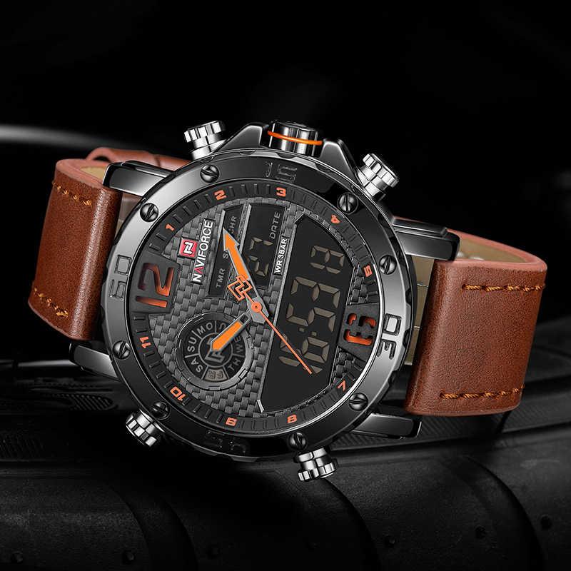 Los hombres relojes de marca de lujo para hombre de cuero de deporte relojes NAVIFORCE los hombres de cuarzo Digital LED reloj militar resistente al agua reloj de pulsera