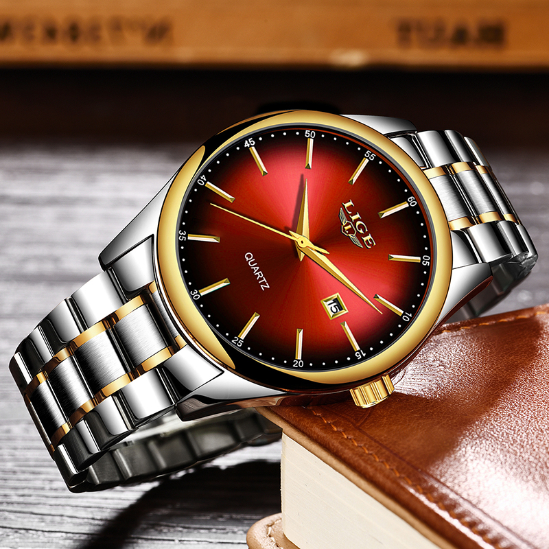 Image 3 - 2019 LIGE Simple Fashion Red Wristwatch Mens Watches Top Brand Luxury Waterproof Quartz Watch For Men Sport Clock Montre Homme-in Quartz Watches from Watches