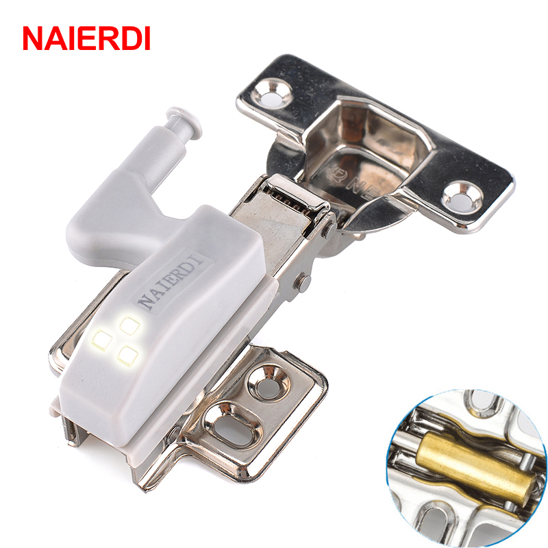 NAIERDI Stainless Steel Hydraulic Hinge With Copper Damper Buffer Cabinet Kitchen Door Hinges With 0.25W LED Sensor Light