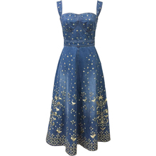 2018 spring gold thread embroidery flower denim dress summer high waist  dress