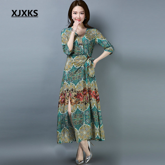 1edf72ecc446 XJXKS New Spring And Summer Dress 2018 Vestido M-XXL Comfortable Chiffon  Linen Fabrics V-neck Women s Dresses