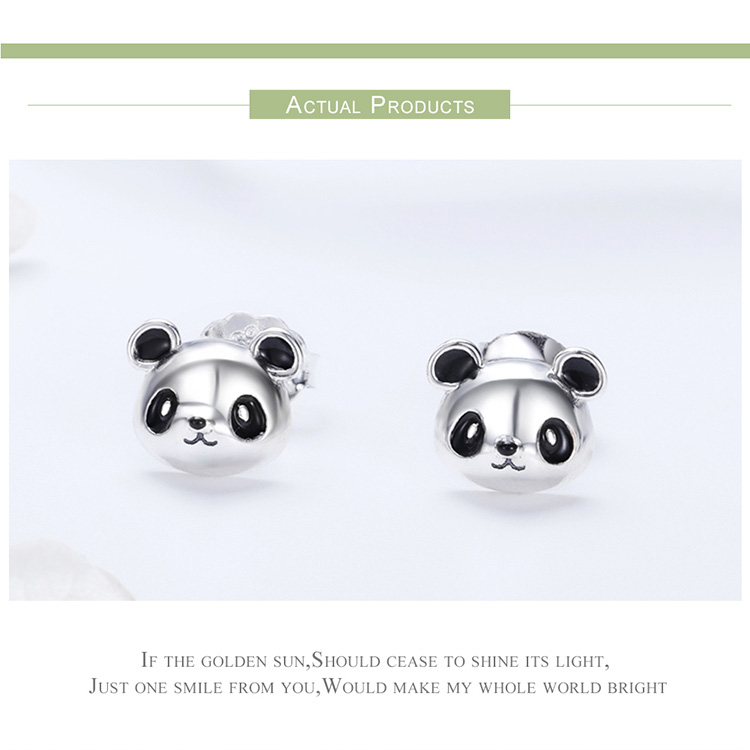 HTB12PBYtb1YBuNjSszeq6yblFXab BAMOER Genuine 100% 925 Sterling Silver Animal Collection Cute Panda Stud Earrings for Women Sterling Silver Jewelry SCE386