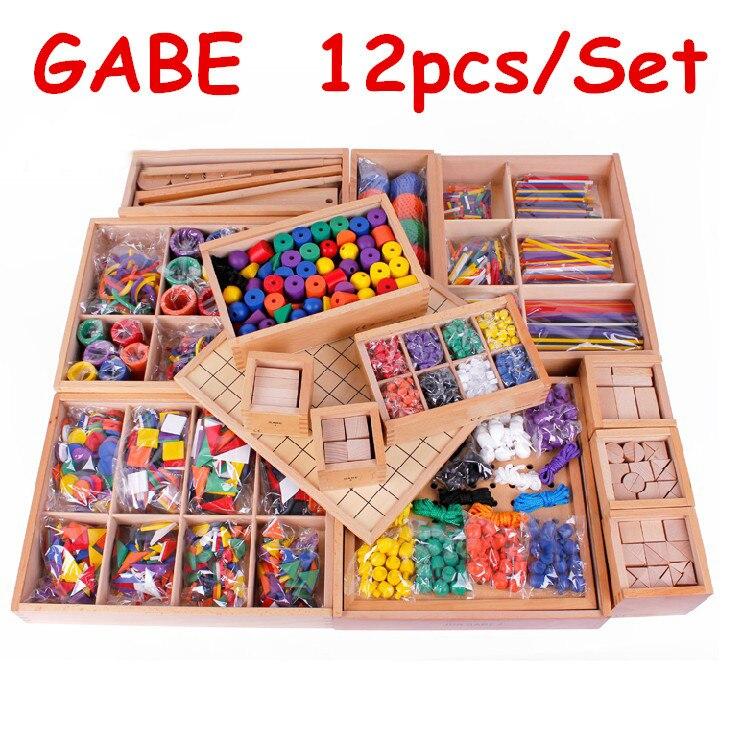 Froebel 아기 장난감 12 개/대 가베 나무 장난감 무료 배송 교육 장난감 교육 초기 개발 어린이 선물-에서블록부터 완구 & 취미 의  그룹 1