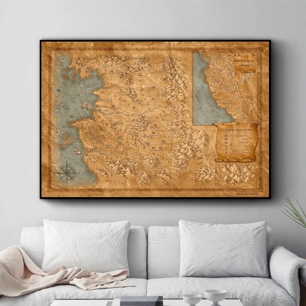 The Witcher 3 World Map Posters and Prints Wall art Decorative Picture Canvas Painting For Living Room Home Decor Unframed
