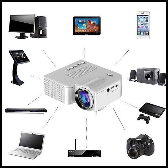 Flash Promo US Plug White UC28A Mini Multimedia LED Projector 1080P Home Cinema DVD AV SD USB HDMI