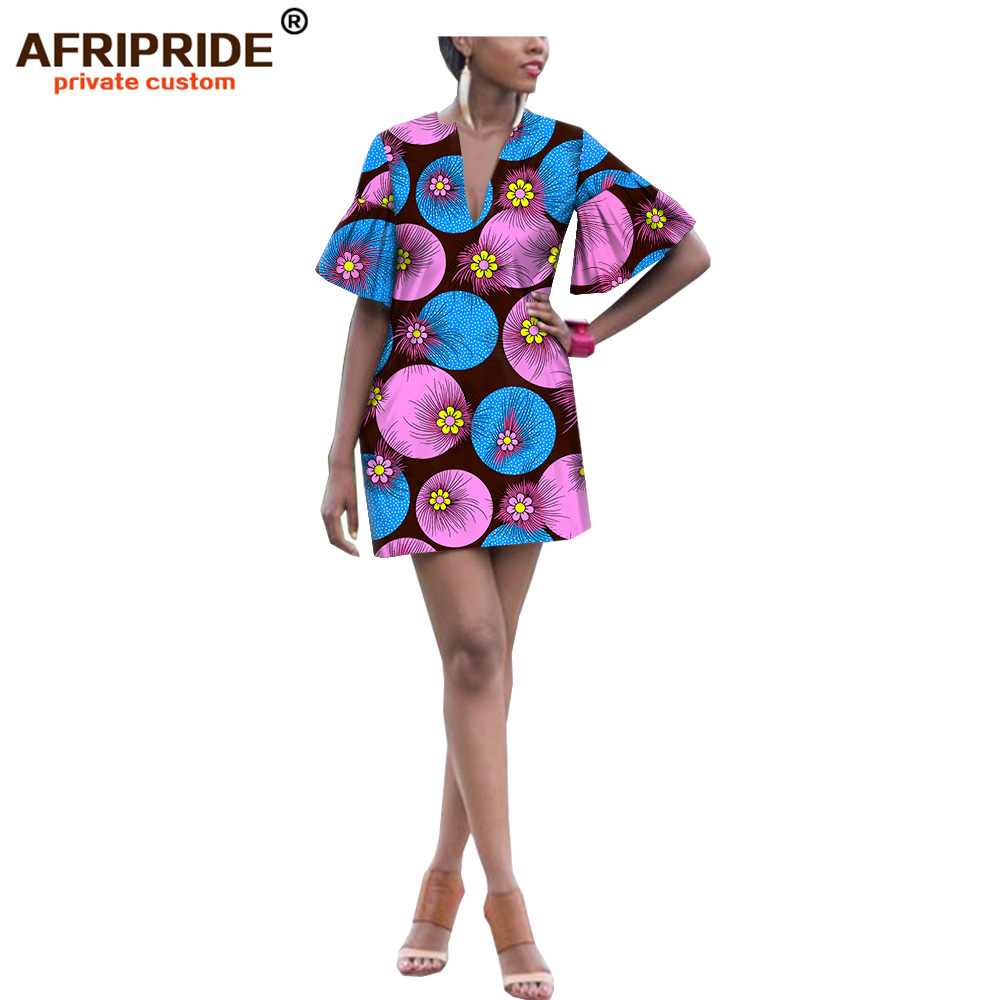 2019 afryki lato dorywczo drukuj suknie dla kobiet ankara tkaniny sexy sukienka dashiki stroje kobiety mini sukienka AFRIPRIDE A1925032 w Suknie od Odzież damska na AliExpress - 11.11_Double 11Singles' Day 1