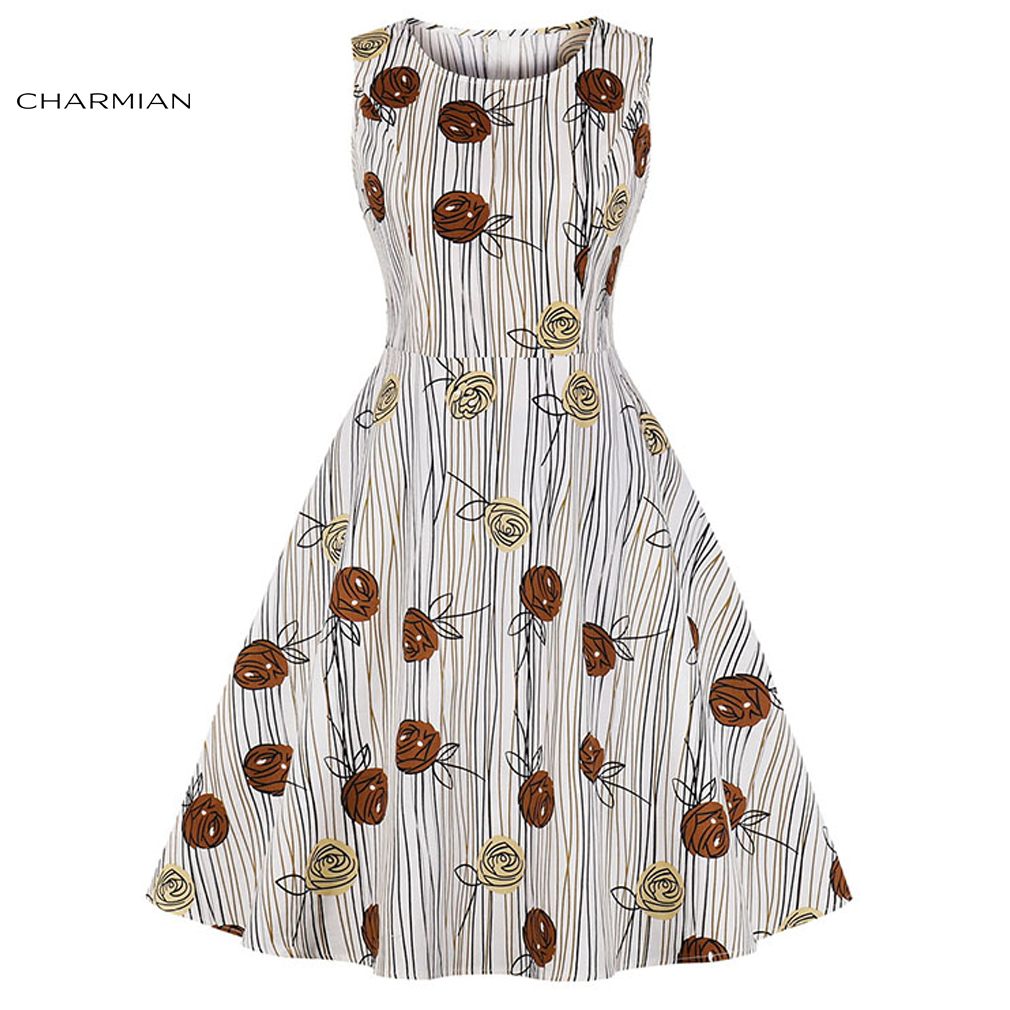Charmian Women's Fashion Vintage Wood Grain and Roses Print Round Neckline Sleeveless High Waist Swing Dress
