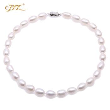 JYX Elegante Perle Halskette Set AA + Qualität 9-10mm Weiß Süßwasser-zucht Oval Perle Halskette Armband und ohrringe Set frauen